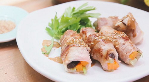 Thịt ba chỉ cuộn rau củ
