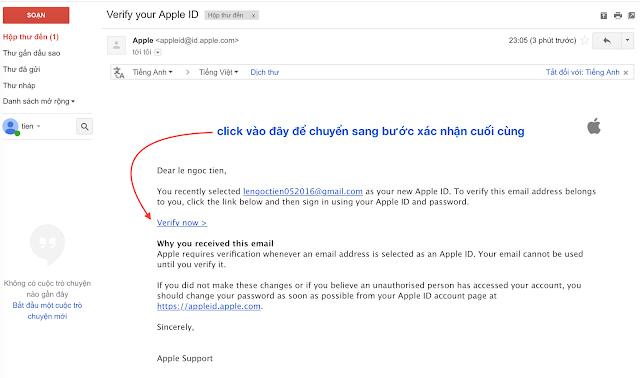 xác nhận email apple