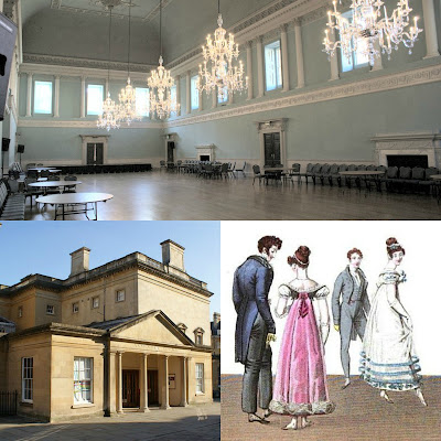 Top: The Ballroom, Assembly Rooms, Bath  Bottom left: Top left: Assembly Rooms, Bath;   Bottom right: Dancers from La Belle Assemblée (1820)