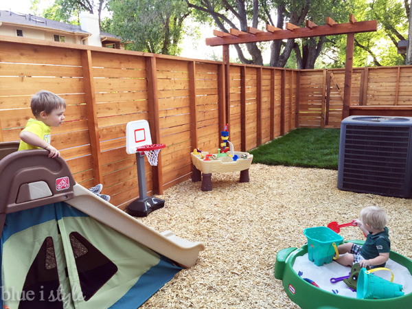 Kids' play area in expanded backyard