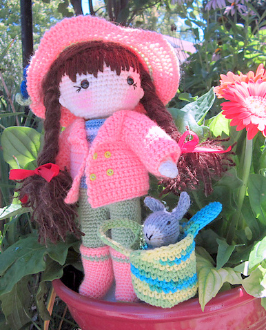 Crochet pattern amigurumi doll girl in coat and hat with bunny