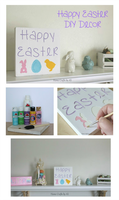 DIY Easter decoration painted block with bunnies, egg, chick & Happy Easter tutorial