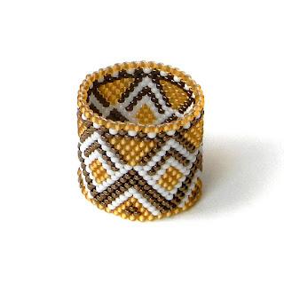купить Широкое кольцо из бисера анабель украшения