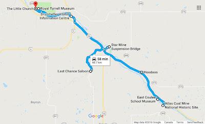 Drumheller Road Trip Map