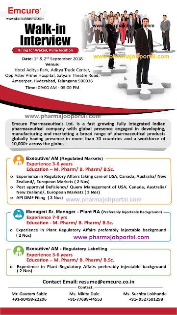 Emcure Pharmaceuticals Ltd Walk In Interview For B.Pharm, M.Pharm, B.Sc