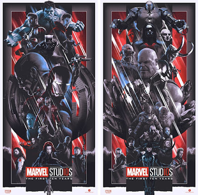 "Marvel Studios The First Ten Years ""Heroes"" & ""Villains"" Variant Screen Prints by John Guydo x Bottleneck Gallery"