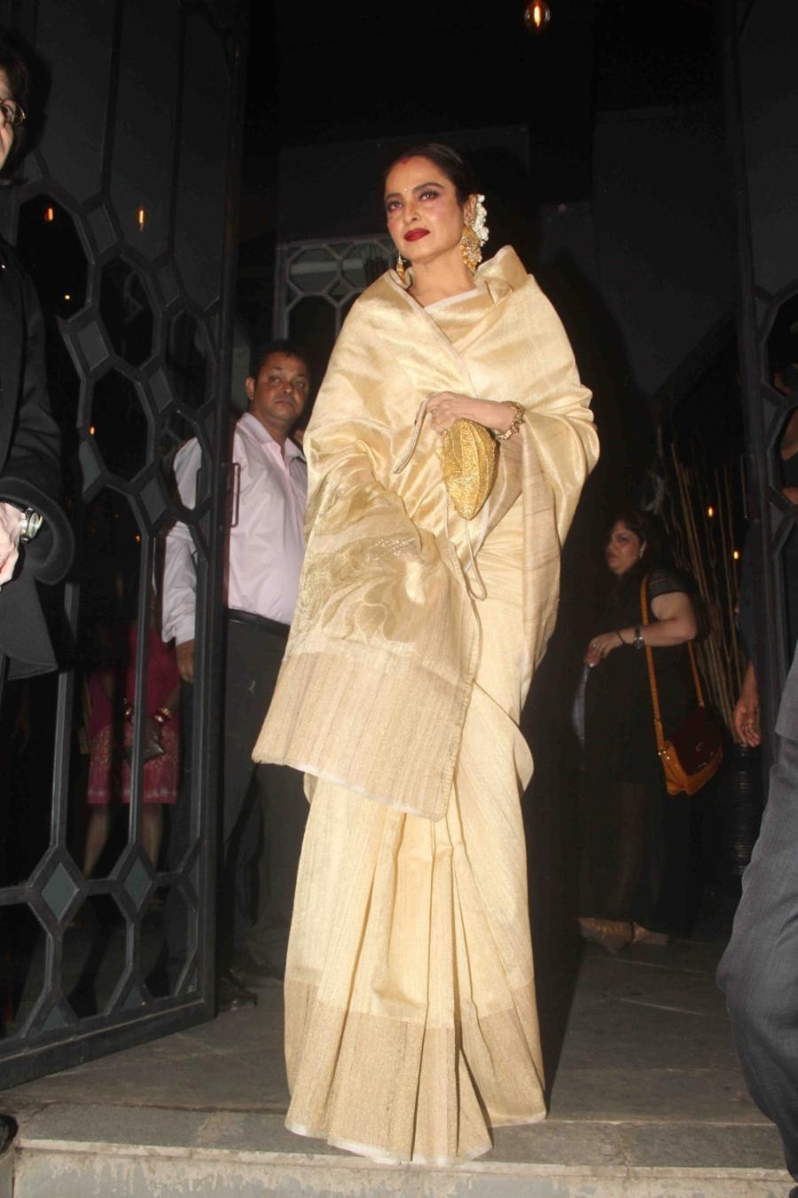 Indian Actress Rekha Stills In White Saree