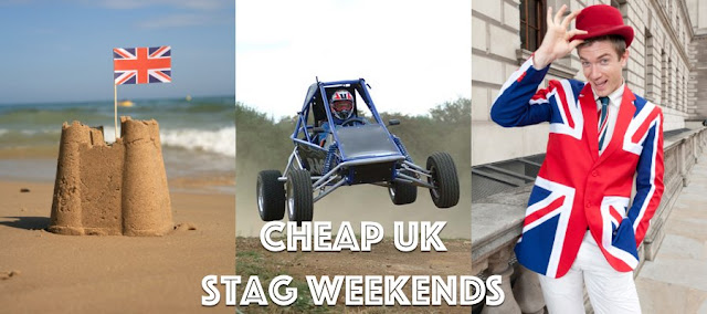 Sandcastle with a union jack, rage buggy & man in union jack suit