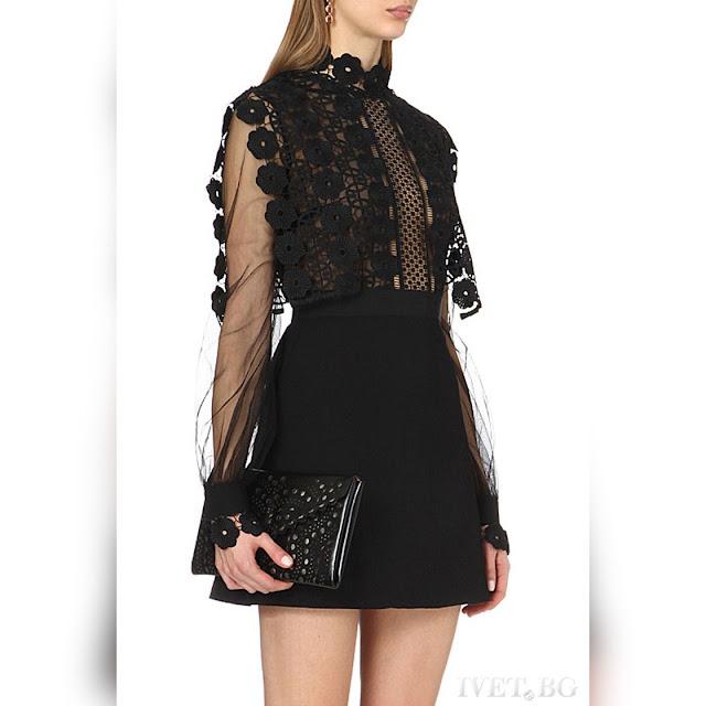 Μακρυμάνικο κοντό μαύρο φόρεμα KARY