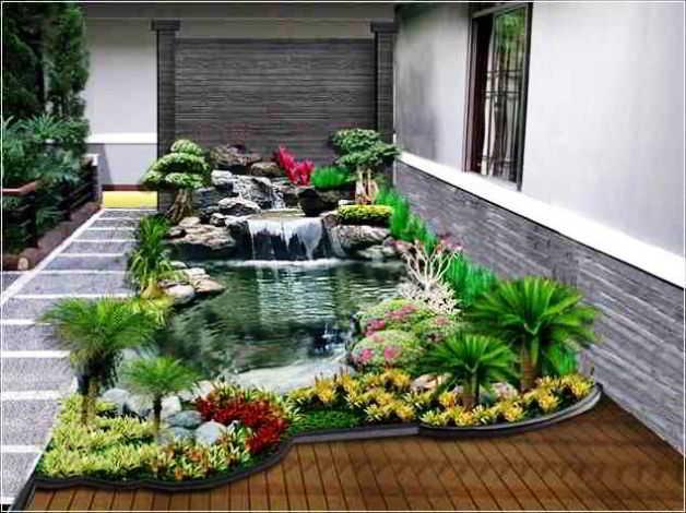 Desain Taman Minimalis Samping Rumah dengan Kolam Ikan