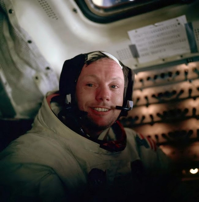 historic photography Neil Armstrong photographed by Buzz Aldrin after walking on the moon 1969
