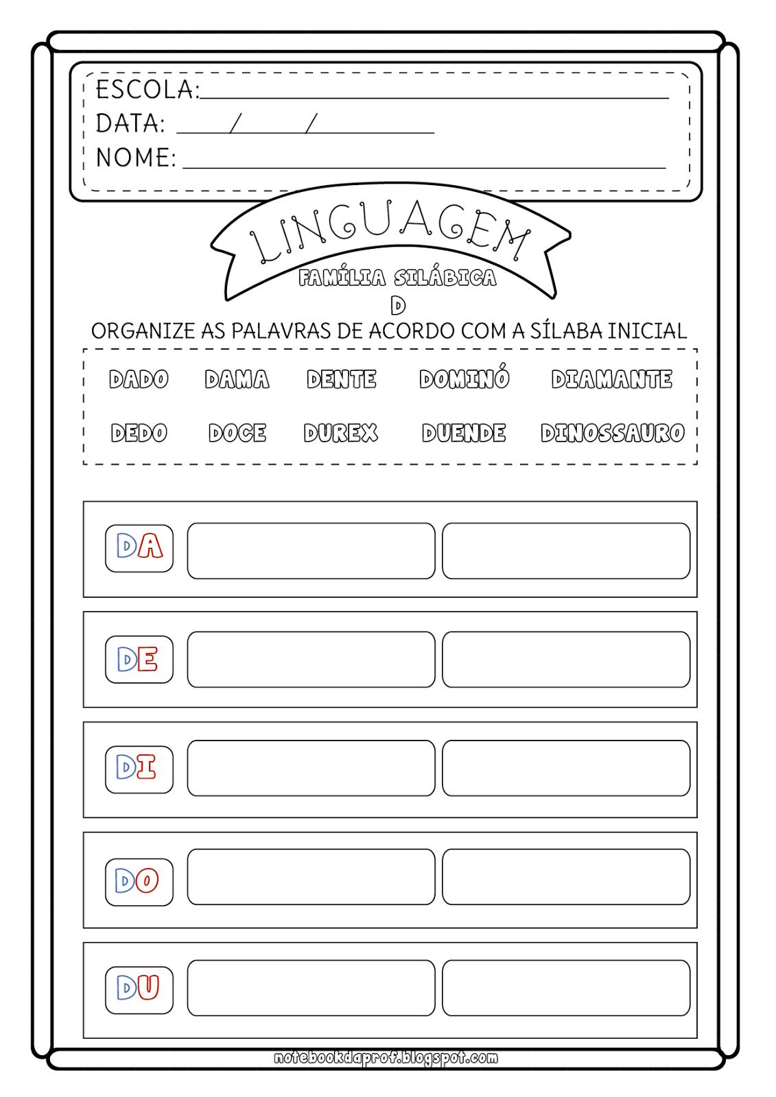 Notebook Da Profa Atividade Familia Silabica D