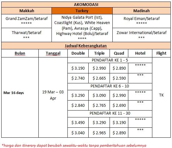 Harga Paket Umroh Plus Turki 19 Maret 2016