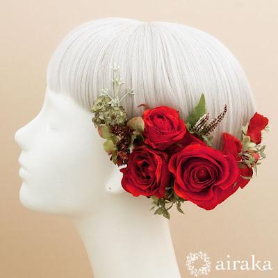 クラシックローズの髪飾り(赤)_ウェディングブーケと花の髪飾りairaka