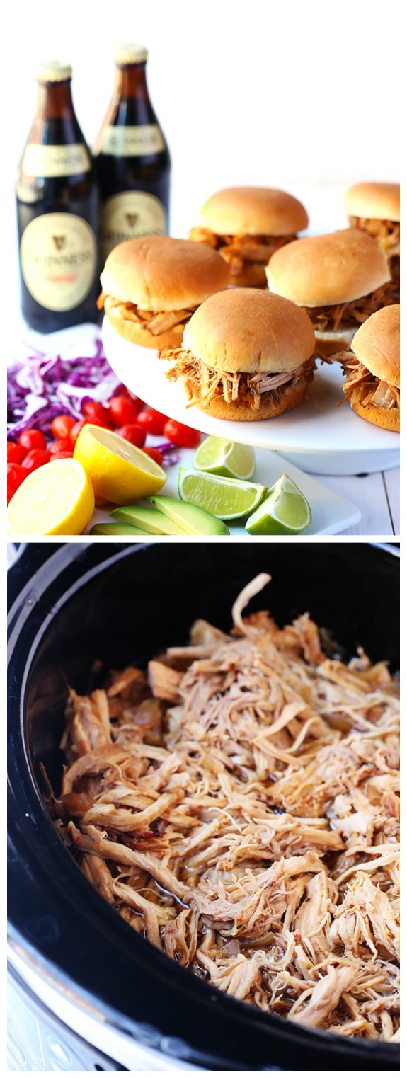 Slow Cooker Guinness Pulled Pork Sliders from Gimme Some Oven found on SlowCookerFromScratch.com