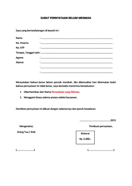Dokumen Pekerjaan: Contoh Surat Pernyataan Belum Menikah