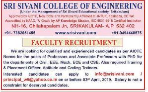 Sri Sivani College of Engineering,Srikakulam Recruitment 2019 Associate Professor/Professor Jobs