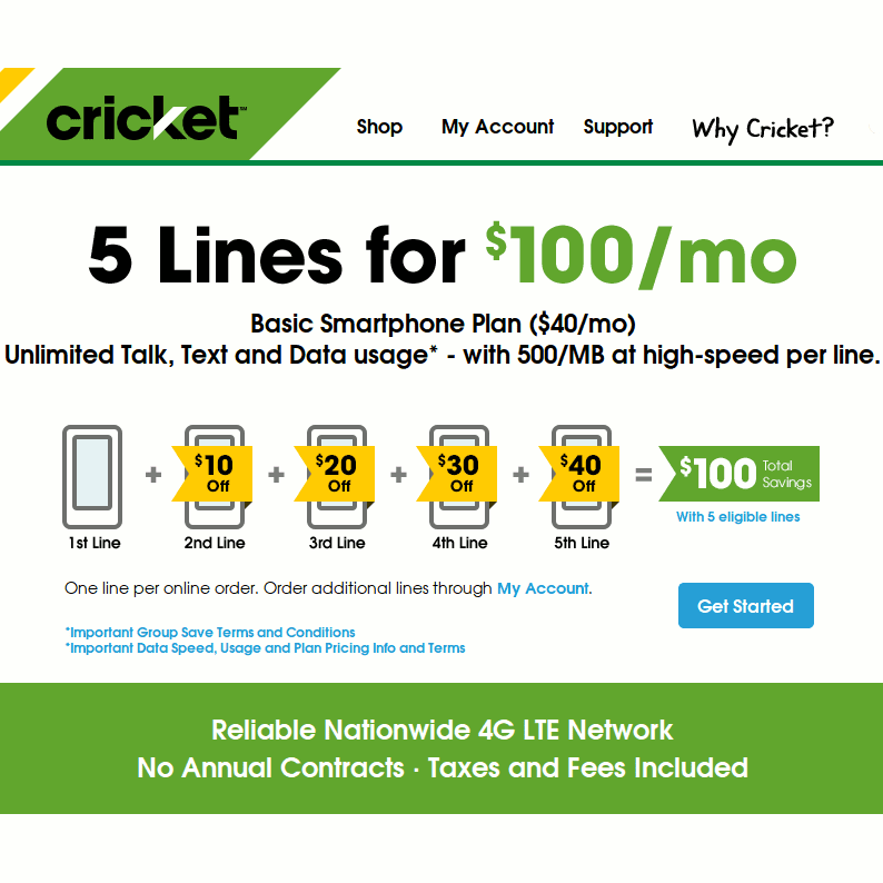 Cricket Group Save Discount Upgraded to 5 Lines For $100