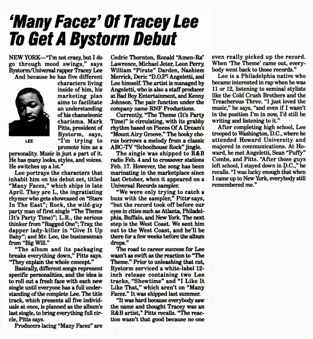 Tracey Lee Many Facez Billboard Magazine 1997 Hip-Hop Nostalgia