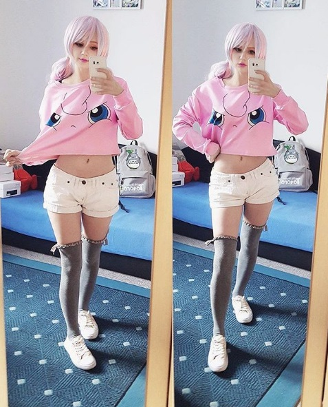 kawaii fashion cute outfits pink skirt thigh high socks pastel hair pretty clothes jfashion fashion blogger blog kaddicosplay jigglypuff pokemon shirt