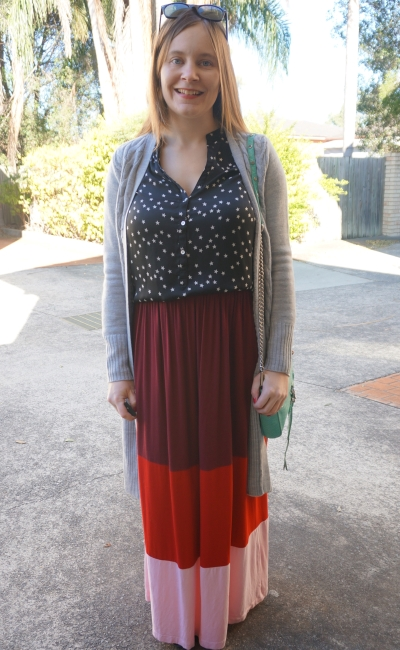 Winter Maxi Skirt Outfit: grey cardi, stars and stripes | Away From Blue