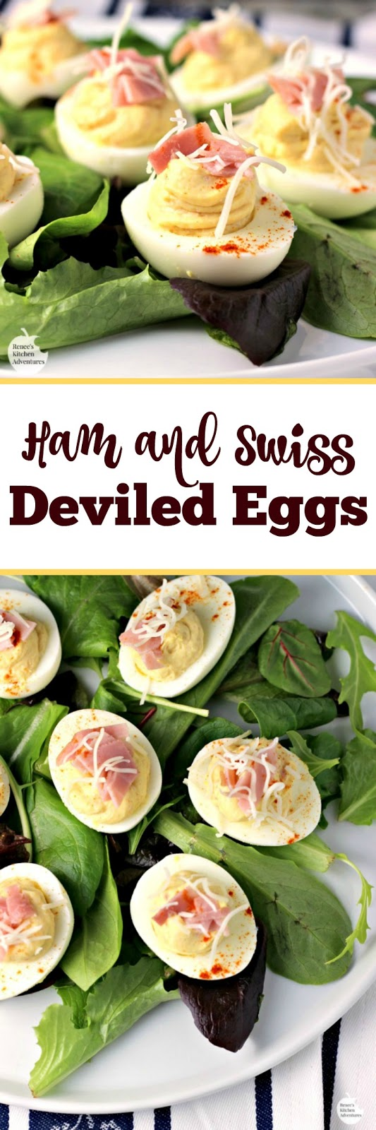 Ham and Swiss Deviled Eggs | by Renee's Kitchen Adventures - recipe for flavorful ham and cheese deviled eggs that make a great appetizer! #SundaySupper #RKArecipes