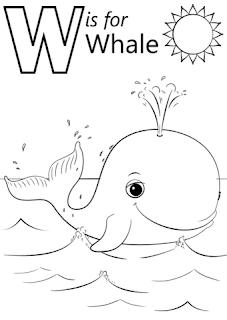 W is Whale Alphabet Coloring Sheet For Print