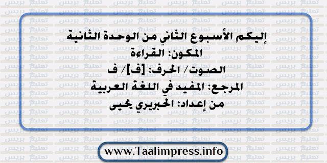 جذاذات القراءة حرف الفاء للمستوى الاول الأسبوع الثاني من الوحدة الثانية المفيد في اللغة العربية