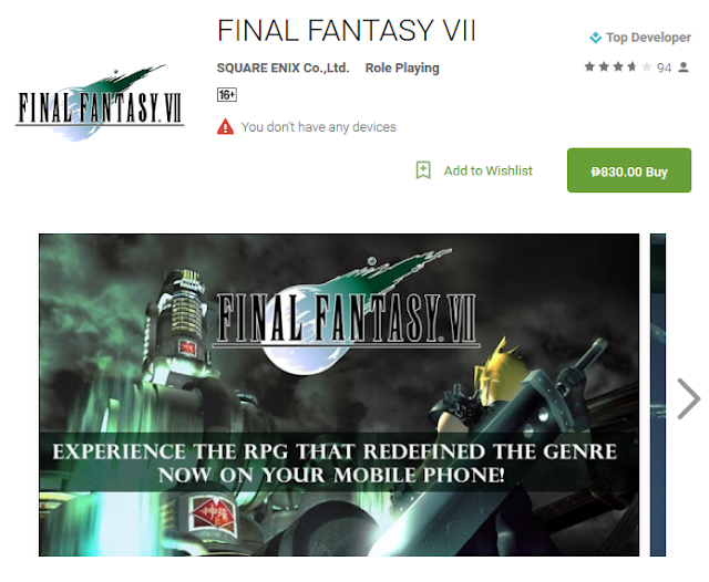 Final Fantasy VII Now On Android, Costs PHP 830