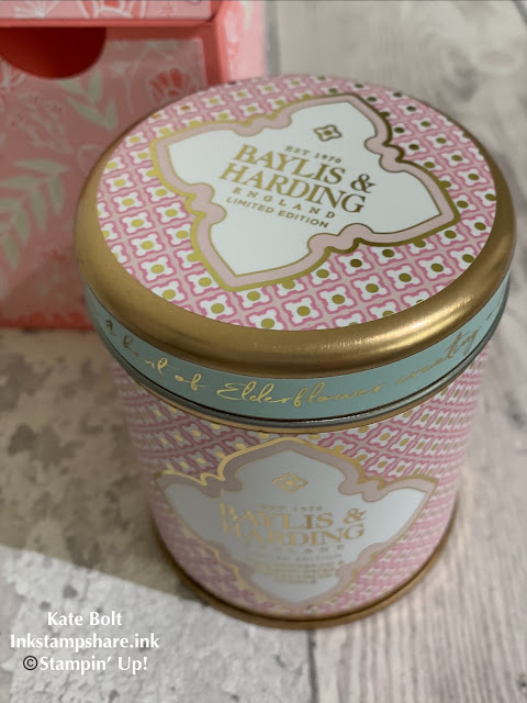 Pink and Gold candle tin containing Elderfloer prosecco candle, with a hand made gift box