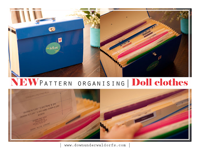 pattern organising for doll clothes, expandable files for pattern organising, sorting sewing patterns, tips on organising sewing patterns, sewing pattern organising, tips by Down Under Waldorfs