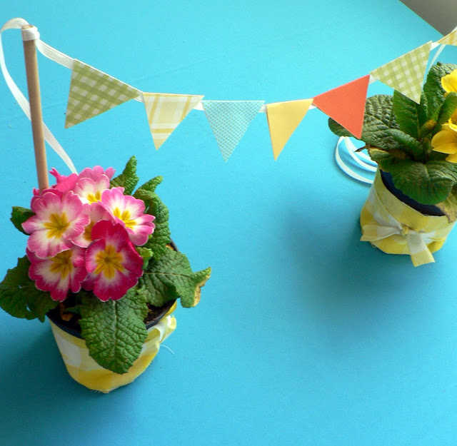 Mini Paper Bunting craft, spring center piece