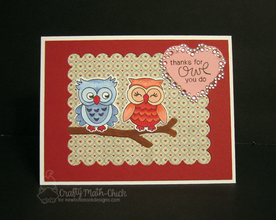 Thanks for Owl you do Card by Crafty Math-Chick | What a Hoot Stamp Set & Die Set by Newton's Nook Designs #newtonsnook