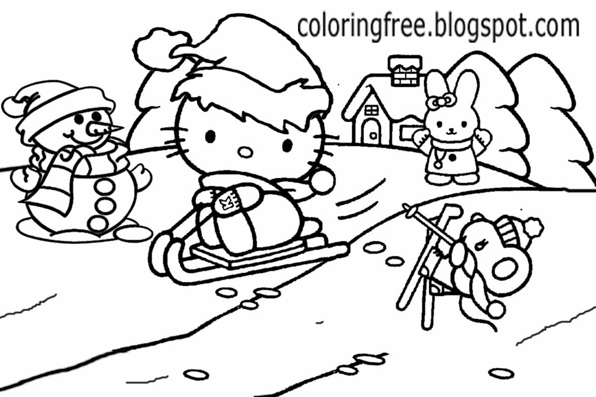 Cute Rabbit Hello Kitty Christmas Printable Girls Pretty Coloring Picture Of Winter Season Landscape