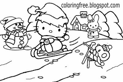 Cute rabbit hello kitty Christmas printable girls pretty coloring picture of winter season landscape