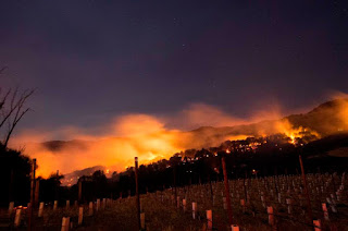 Fires spread by the Diablo winds and fueled by dry grass and brush spread through California's Napa and Sonoma regions in early October 2017. Scientists say climate change is loading the dice for wildfires. (Credit: Josh Edelson/AFP/Getty Images) Click to Enlarge.