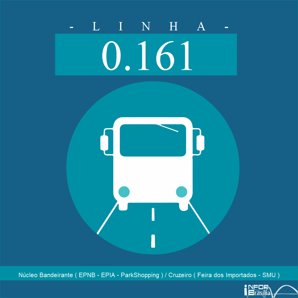 Horário de ônibus e itinerário 0.161 - Núcleo Bandeirante ( EPNB - EPIA - ParkShopping ) / Cruzeiro ( Feira dos Importados - SMU )