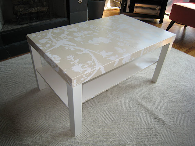 Decoupaged Ikea coffee table using Laura Ashley wallpaper