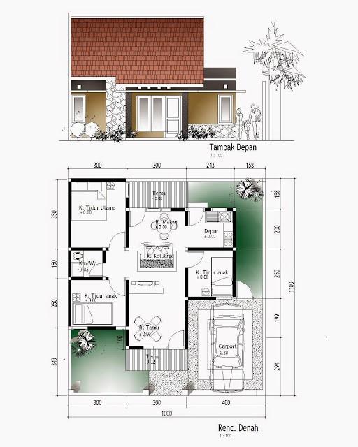gambar denah rumah sangat sederhana 3
