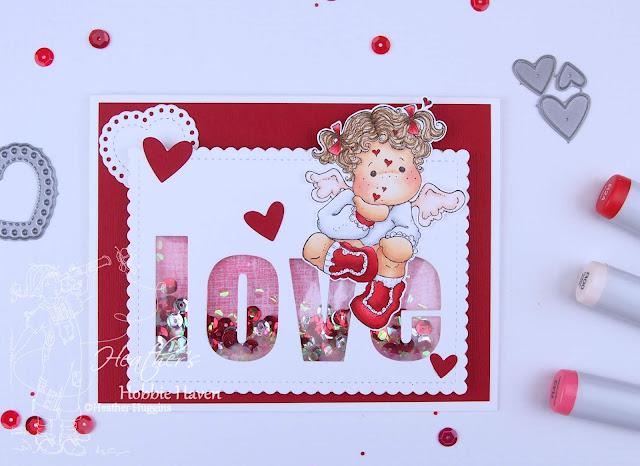 Heather's Hobbie Haven - Tilda with Floating Hearts Shaker Card Kit