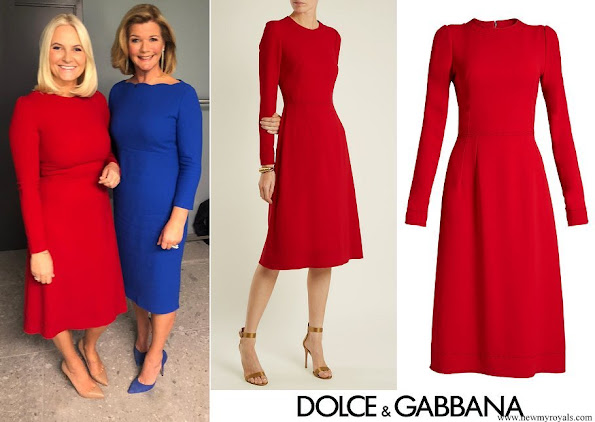 Crown Princess Mette-Marit wore Dolce & Gabbana Red Contrast-stitch Cady Dress