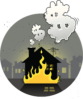 Illustration of arson with a burning home giving off smoke dollar signs.