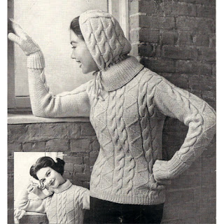 Hooded cable pullover knitting pattern, with mittens