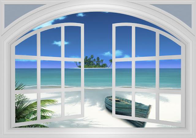 Ikkuna tapetti ranta meri 3d luonto