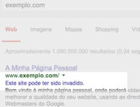 Exemplo do aviso sobre site invadido no resultado do Google