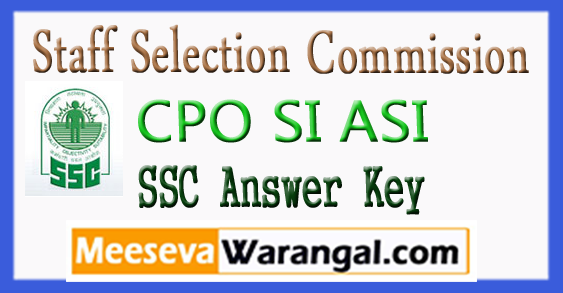 SSC Staff Selection Commission CPO SI ASI Answer Key 2018