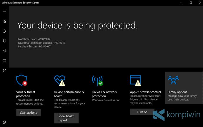 windows defender setelah install ulang