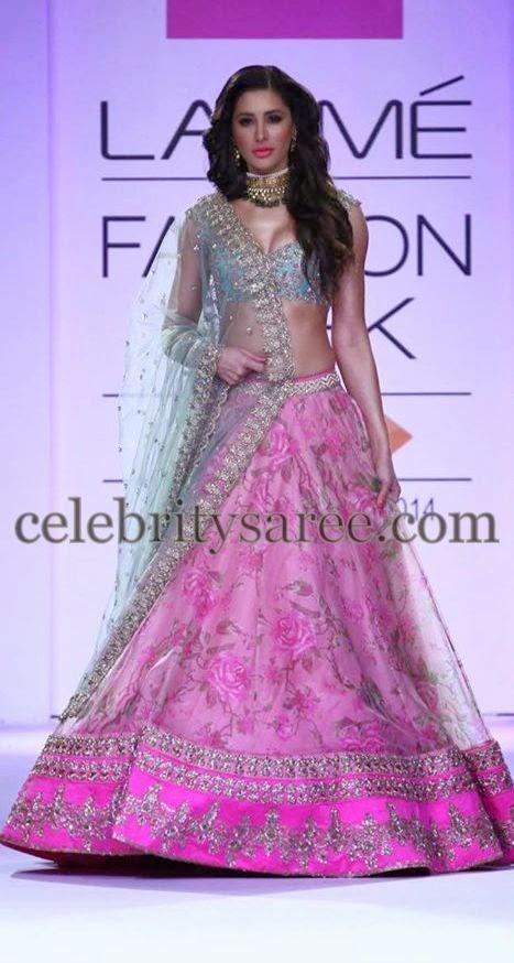 Model In Anushree Reddy Lehenga Saree Blouse Patterns