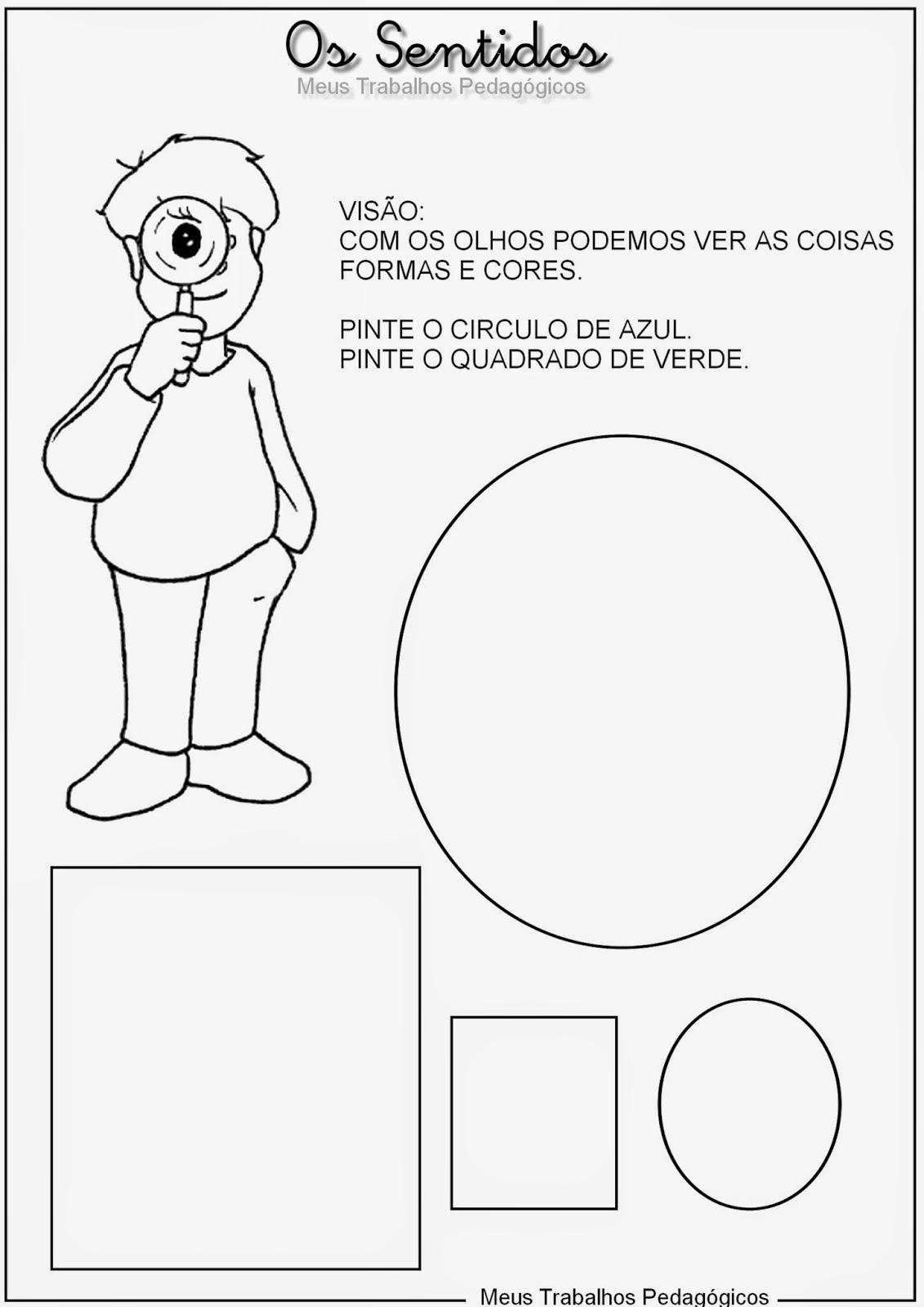 Excepcional Atividade sobre os 5 sentidos - Imprimir - Mundinho da Criança HH88