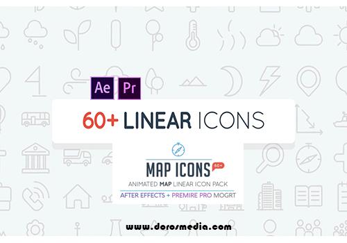 قوالب افترافكت قوالب بريمير  قالب حزمة من الايقونات الخطية المتحركة المتنوعة الرائعة  Map Linear Icon Pack لأعمال المونتاج وصناعة الفيديو
